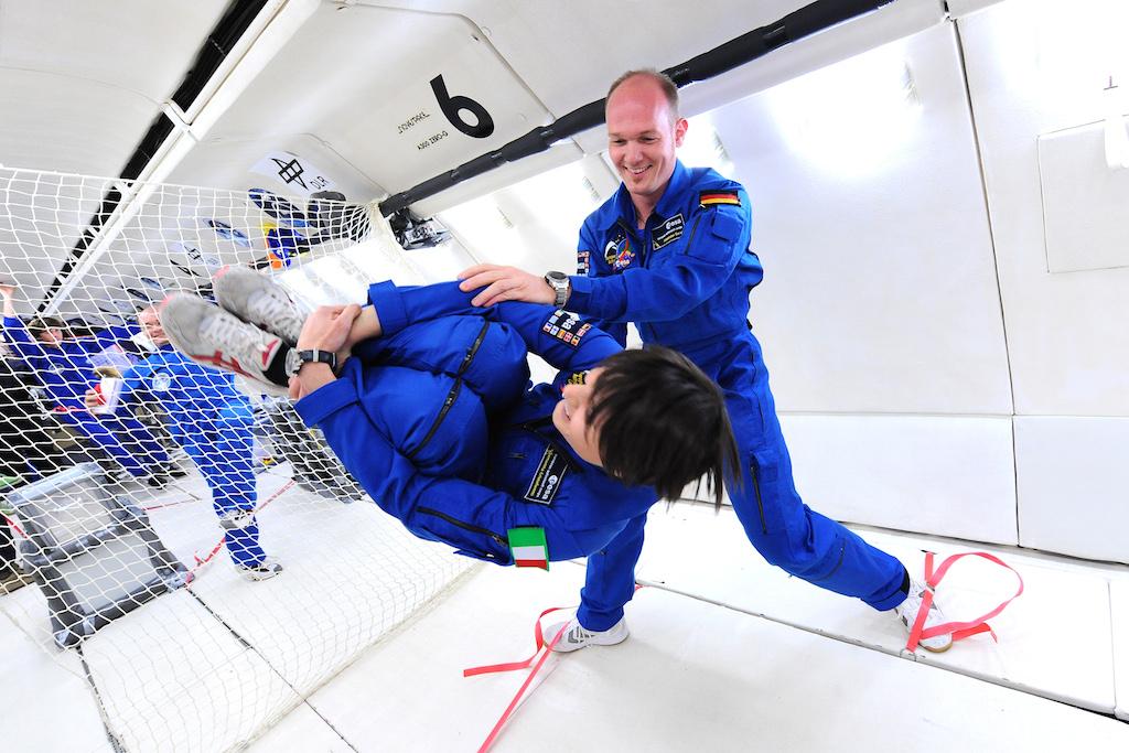 Samantha Cristoforetti  in azione, prima di andare nello spazio