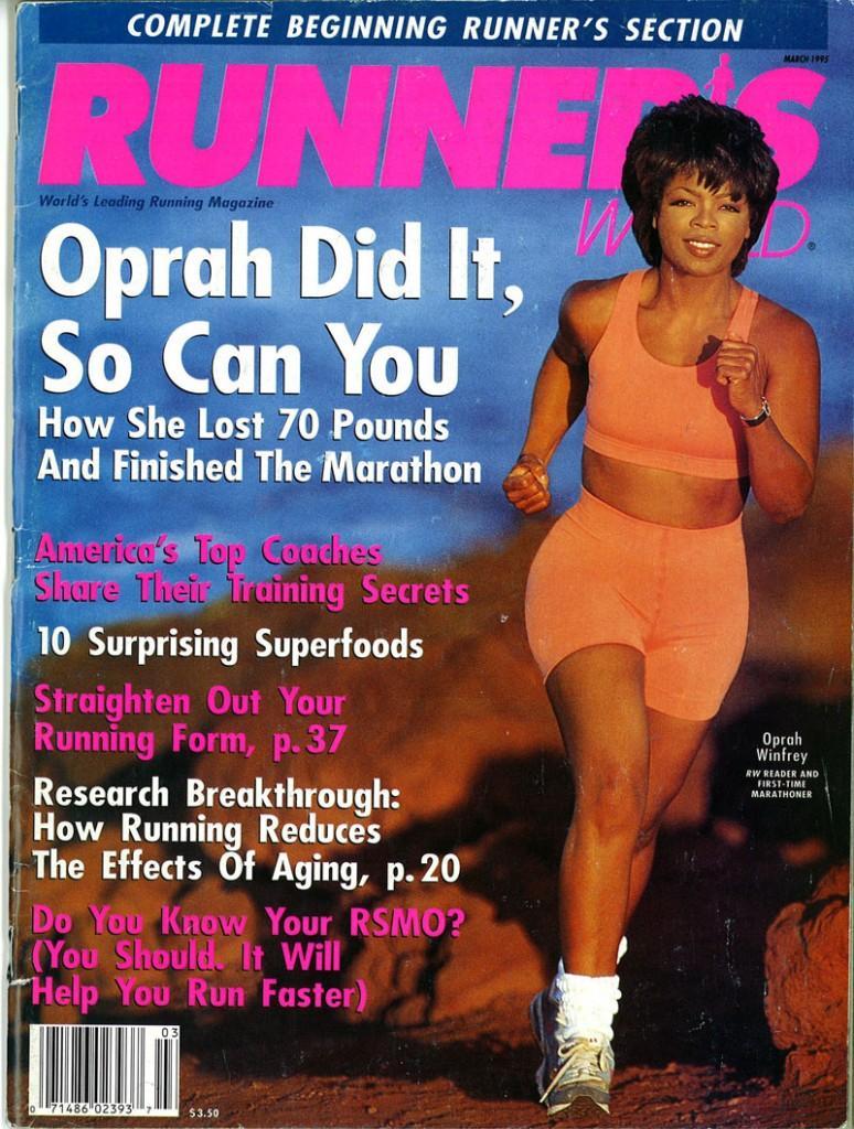 Oprah Winfrey nella cover di Runner'sWorld 1995