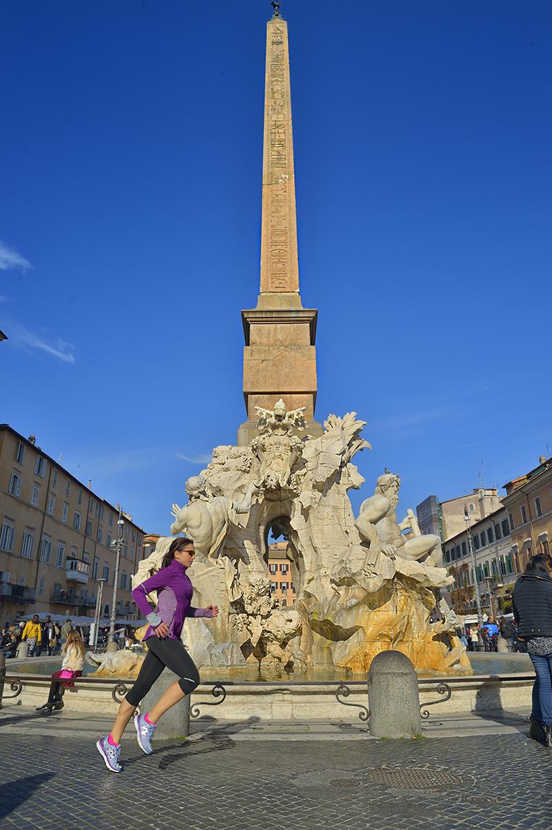 Fontana dei Quattro Fiumi in Piazza Navona, dove passa la maratona - Foto Pierluigi Benini