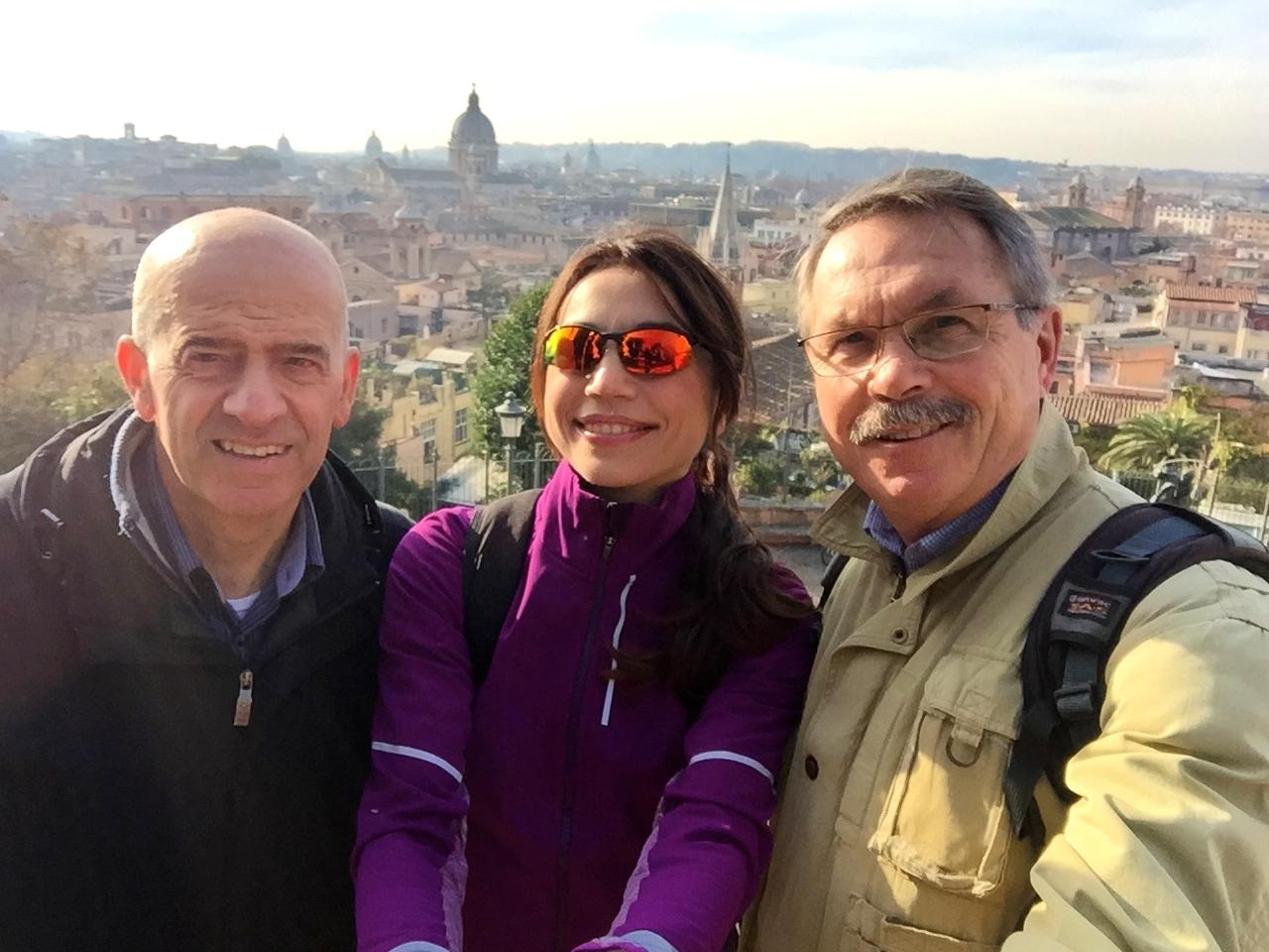 Selfie con Nicola Ferrante, vice presidente della maratona di Roma e Pierluigi Benini