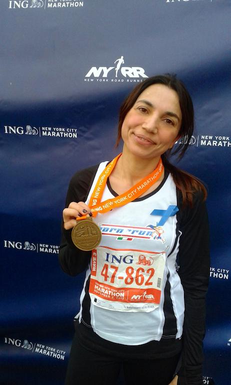 Irene Righetti alla fine della maratona di New York - Running Post