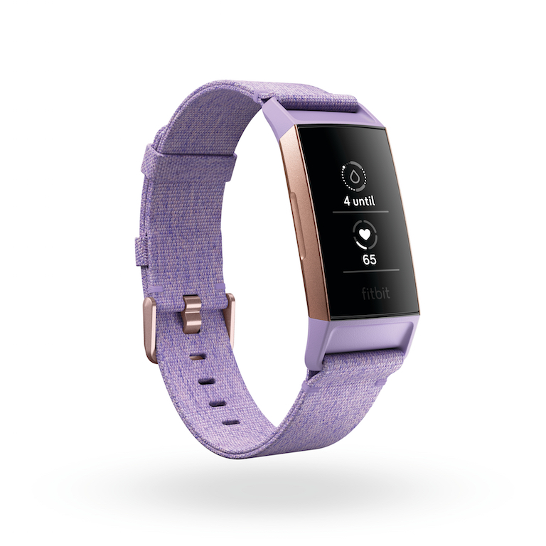 Product render of Fitbit Charge 3, 3 quarter view, showing period tracking in today