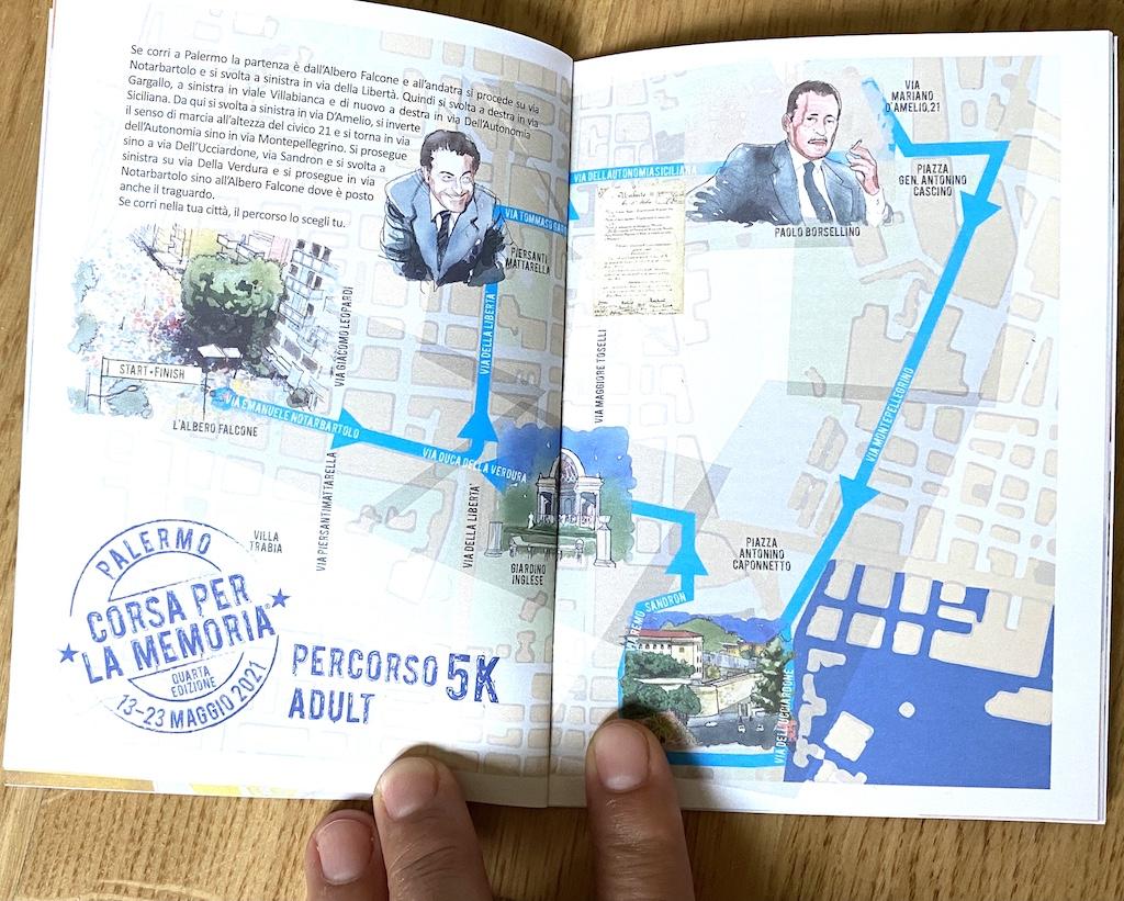 Il libretto stampato a colori che ricorda le stragi di Capaci e Via d'Amelio -www.runningpost.it